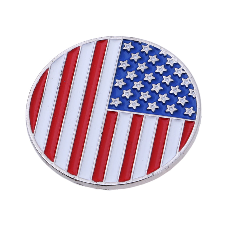 Golf Ball Marker and USA America Flag Magnetic Golf Hat Clip