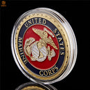 USA Marine Corps Eagle Military Gold Plated Replica Coin