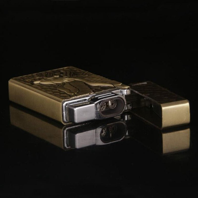 Ultra-thin Plating Eagle Pattern Metal Gas Lighter