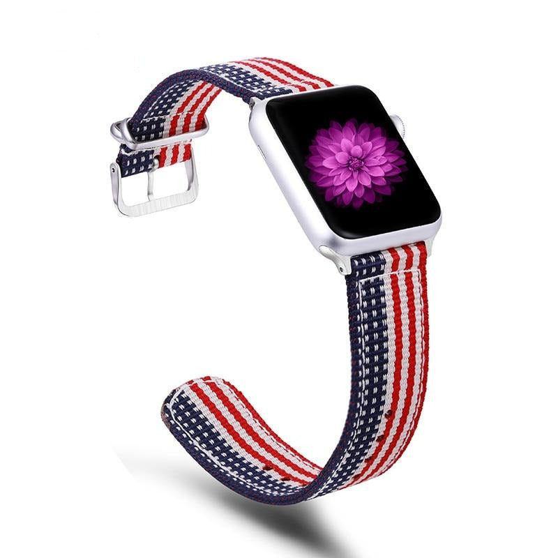 USA Stars & Stripes Nylon Canvas Apple Watch 4 & 5 Band