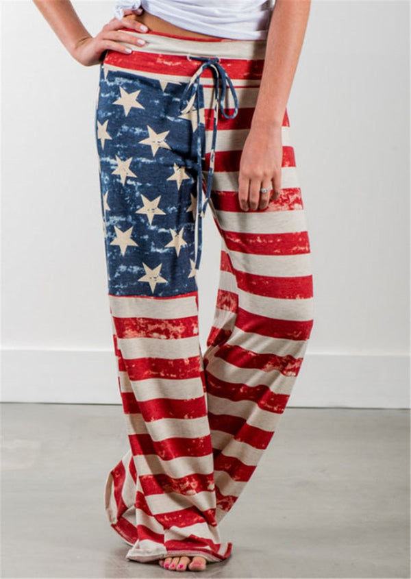 Wide Leg American Flag Flare Pant