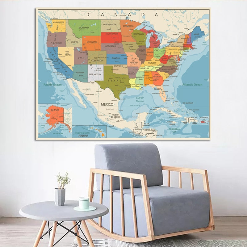 United States Map Poster Size Wall Decor