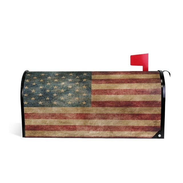 Vintage American Flag US Stars and Red Stripe Mailbox Cover