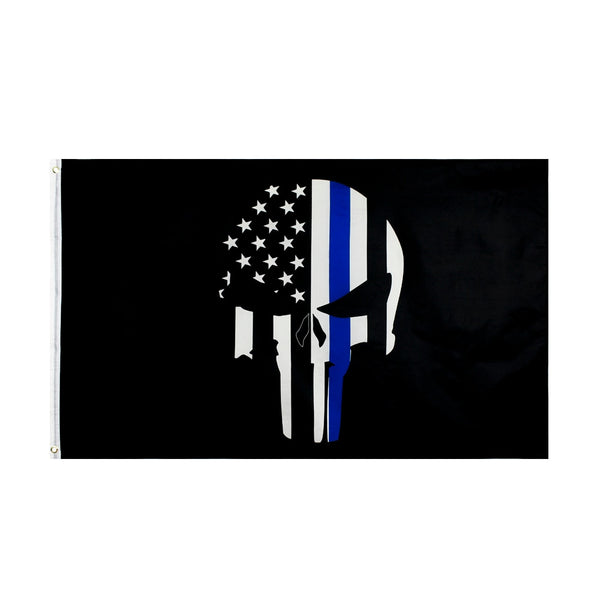 First Responder Police Thin Blue Line Skull Bone Flag