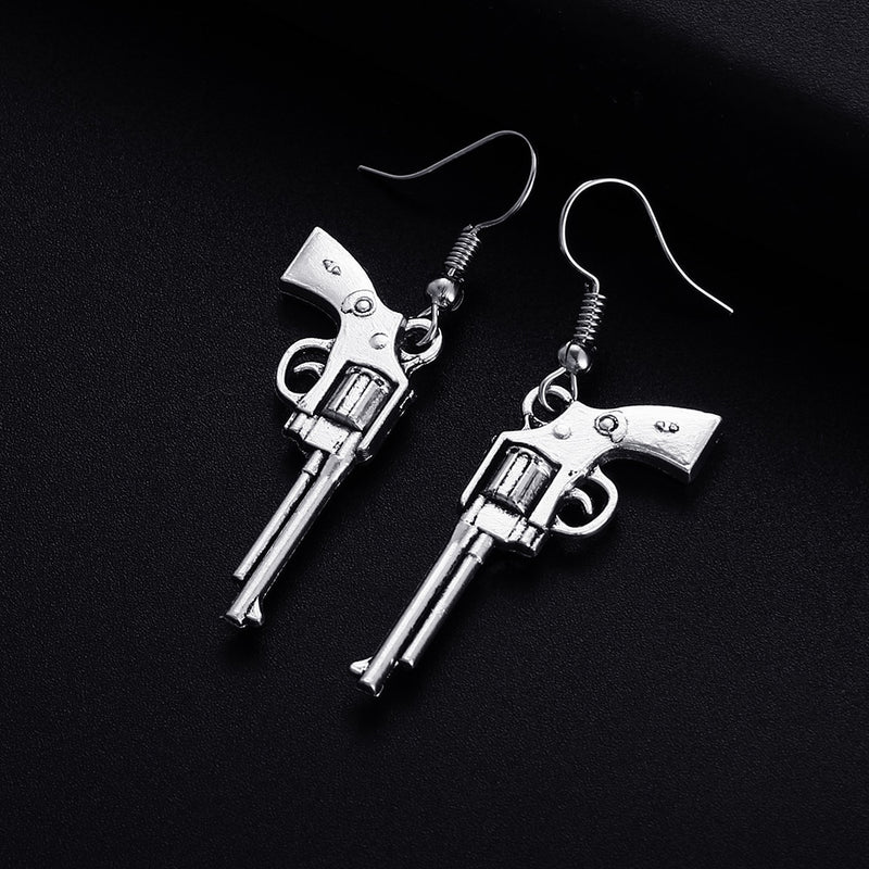 Trendy Vintage Revolver Gun Shape Dangle Earrings