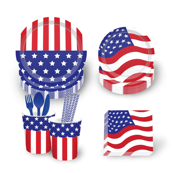 Stars & Stripes Highly Durable Tableware Set For 8