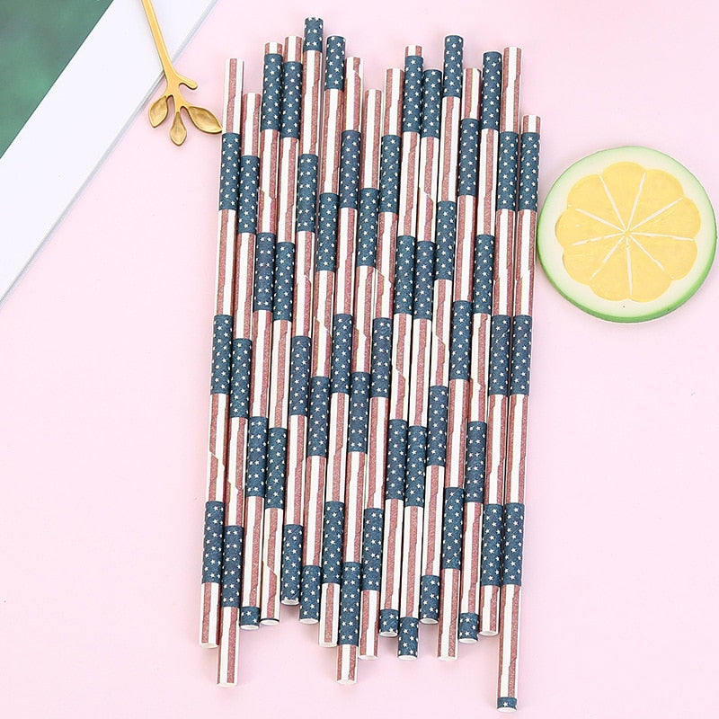 US Stripe Disposable Paper Straw