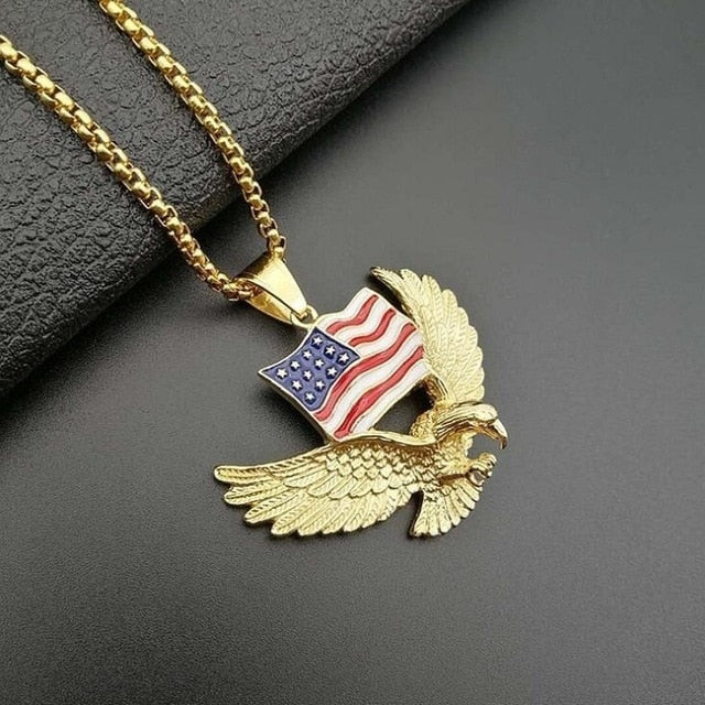 Titanium Steel Gold Plated American Eagle Pendant Necklace