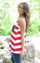 Trendy American Flag Print Tank Top