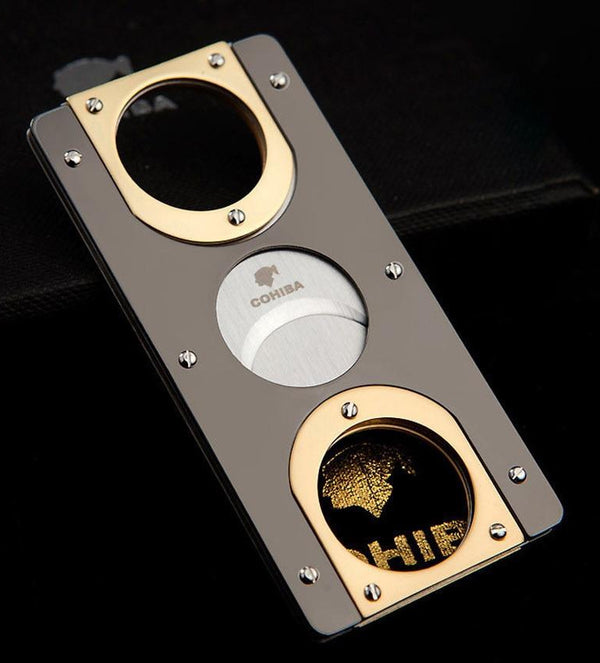 Double Blades Stainless Steel Gold Plated Pocket Cigar Cutter