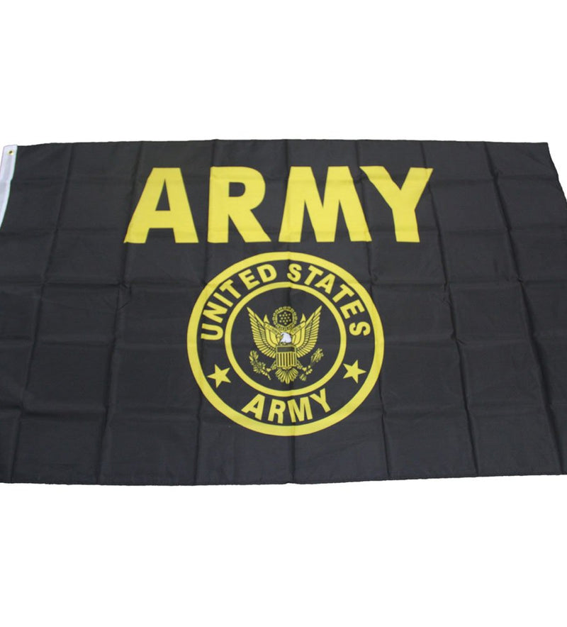 US Army Seal Crest Black and Gold Flag 3'x5' Banner With  Brass Grommets