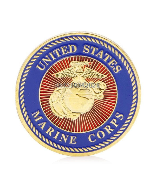 Gold Plated U.S. Marine Corps. Commemorative Coin