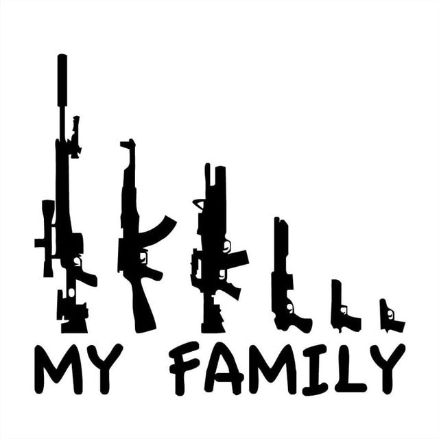 MY FAMILY Gun Vinyl Car Sticker
