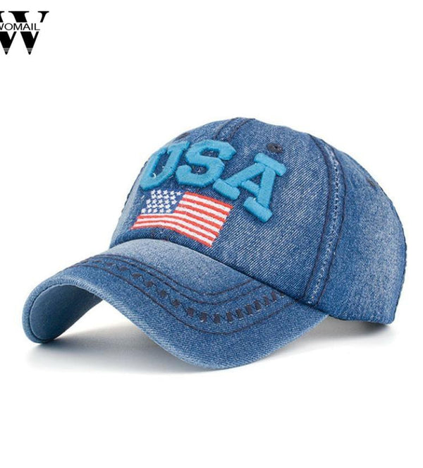 USA Denim Snapback Baseball Hat