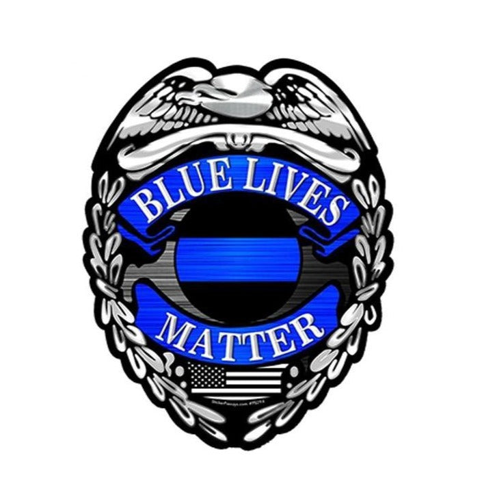 Blue Lives Matter Police Sticker Decal Badge Shape