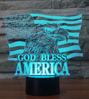 God bless America 7 Changing Colors Neon Lamp