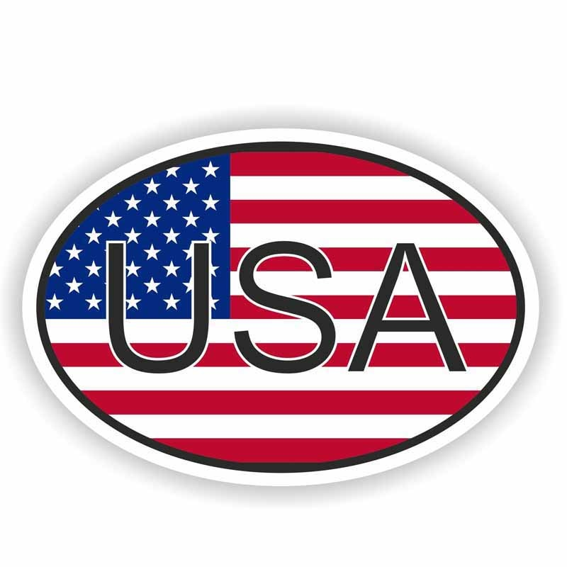 USA Country Code Oval Flag Decal