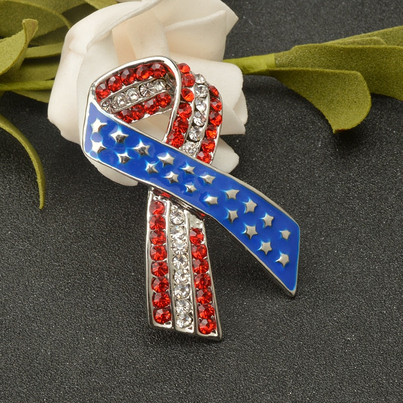 USA Flag Ribbon Brooch