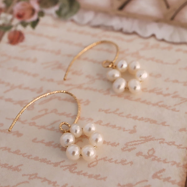 Pearl Flower Shape Drop Earring