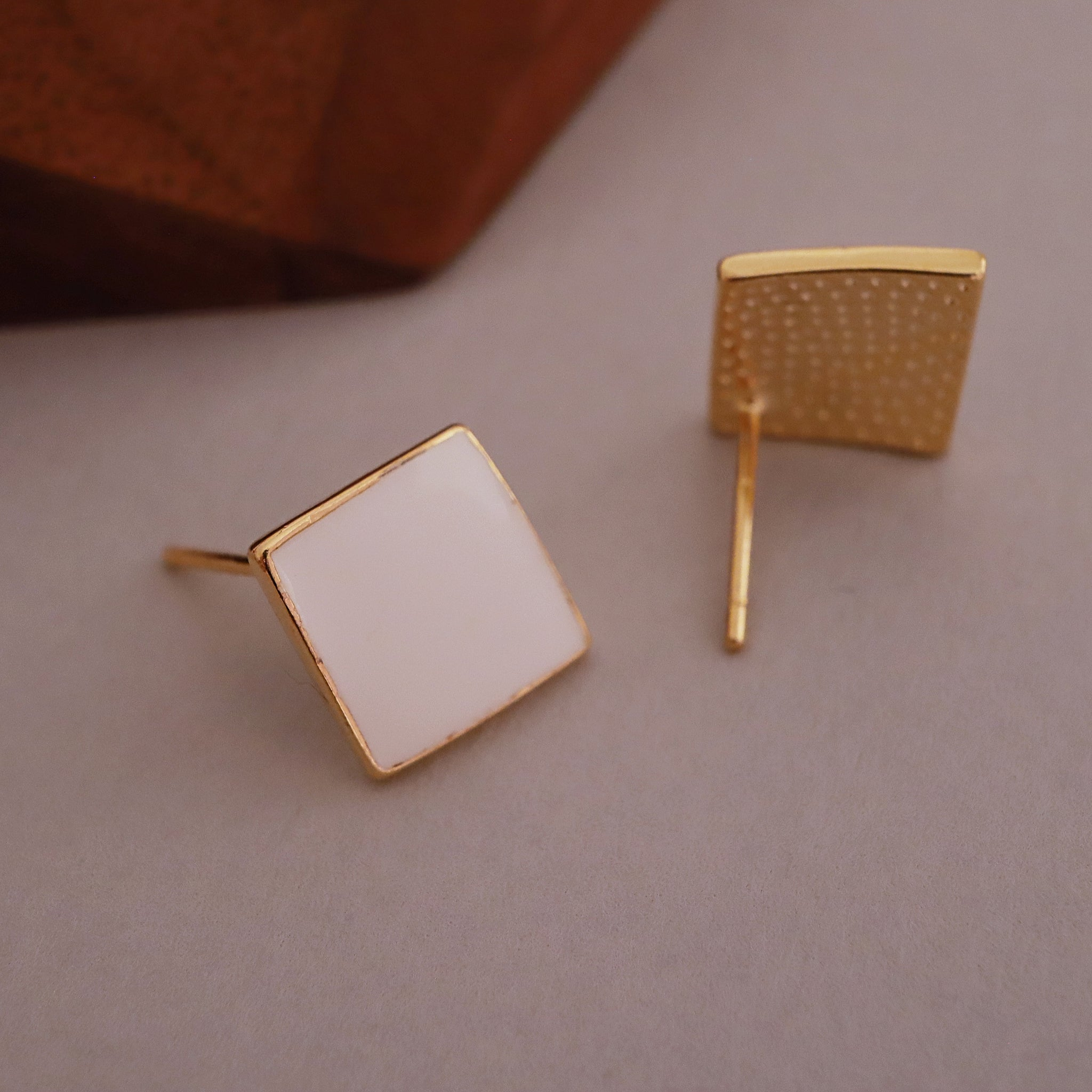 White Square Earring