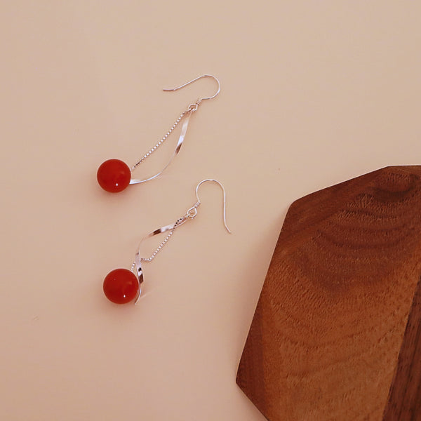 Red Ball Drop Earring