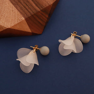 Grey Flower Earring