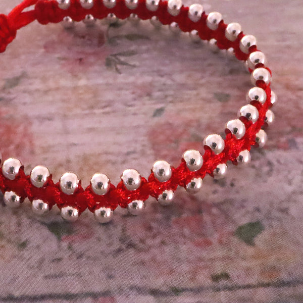 Red String Bracelet with Silver Ball