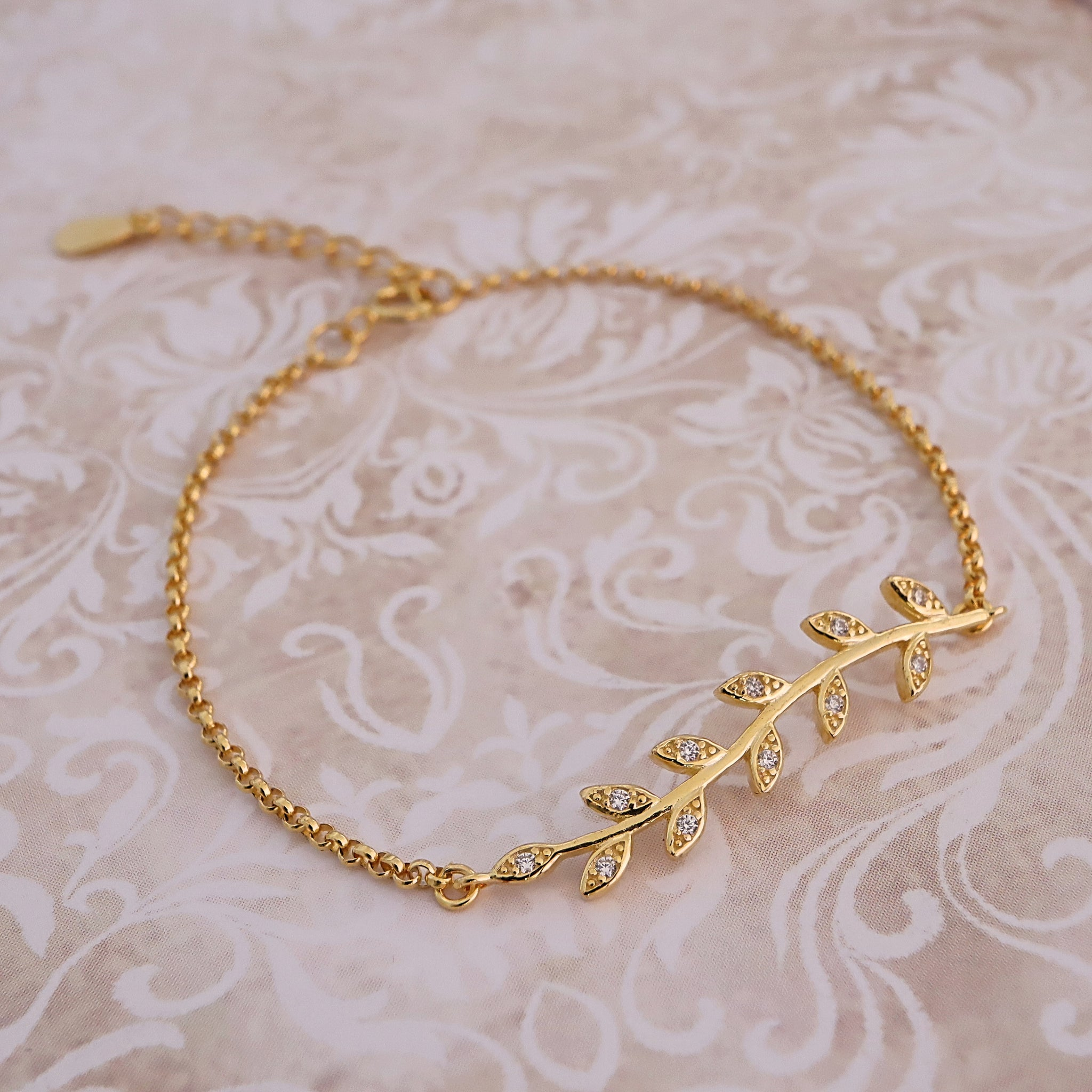 Plated Golden Leave Bracelet