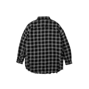 OVERSIZED FRAYED CHECKERED SHIRT