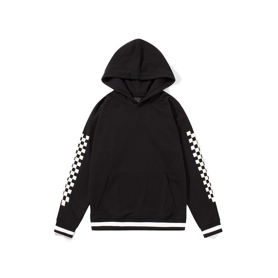 CHECKERED SLEEVE PULLOVER HOODIE