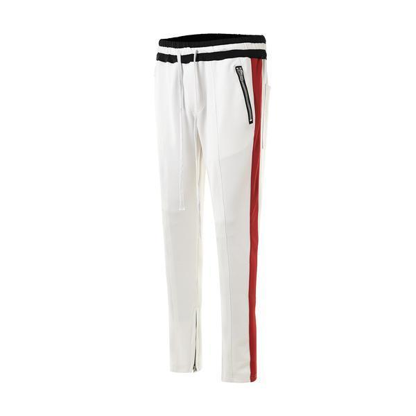 DUAL STRIPED TRACKPANTS - RED/WHITE