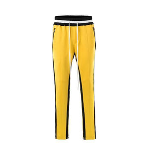 DUAL STRIPED TRACKPANTS - BLACK/YELLOW