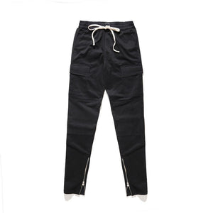SLIM FIT CARGO PANTS - BLACK