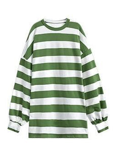 OVERSIZED STRIPED PULLOVER - GREEN