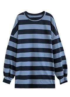 OVERSIZED STRIPED PULLOVER - BLUE