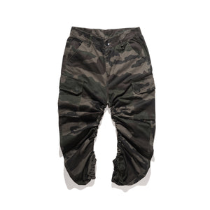 CROPPED CAMO RUCHED JOGGERS