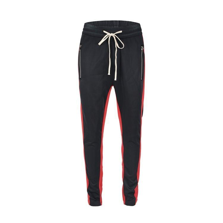 DUAL STRIPED TRACKPANTS - RED/BLACK