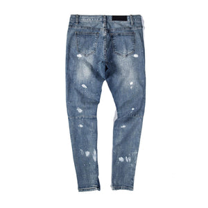 INK SPLASHED DISTRESSED JEANS