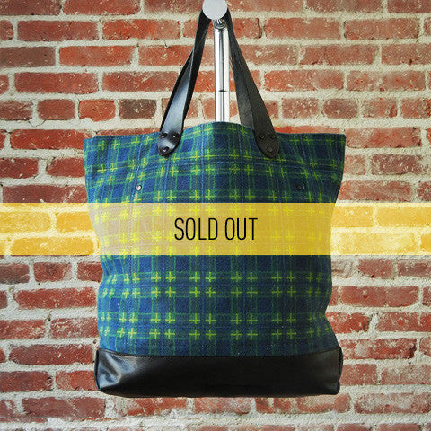 DEADSTOCK Canvas Tote / GREEN PLAID