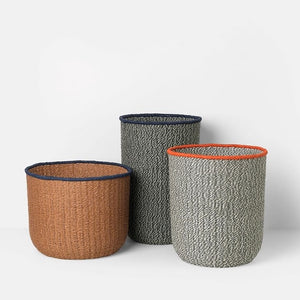 Braided Floor Baskets _ Set of 3