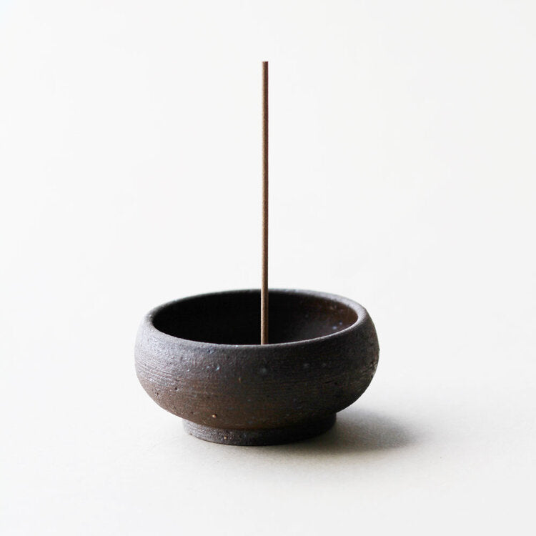 Wabi Sabi Mud Clay Incense Bowl + Gold Brass Incense Holder