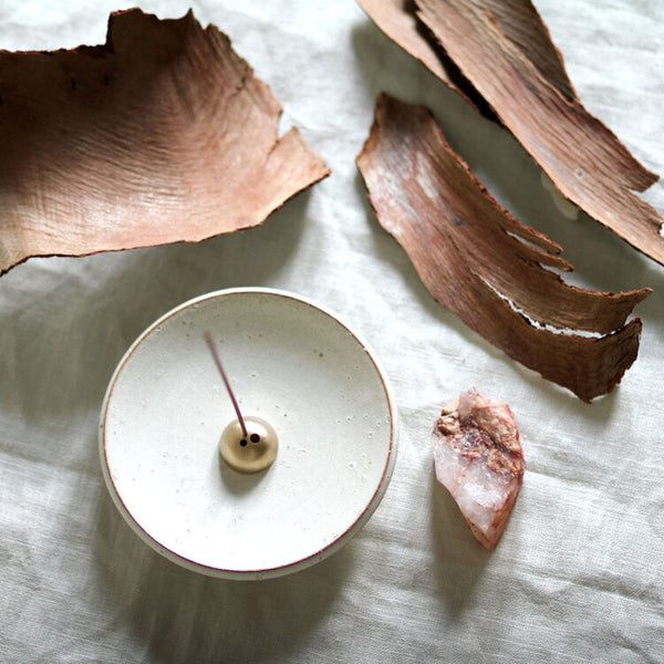 White Onyx Incense Dish + Gold Brass Incense Holder