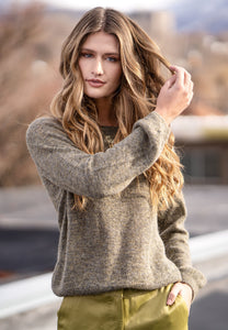 Softest alpaca blend sweater. Lightweight and warm. Poet sleeve detailing makes this casual yet super elegant.