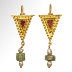 private collection garnet triangle roman earrings