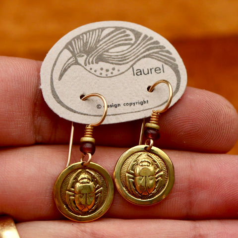 Vintage Laurel Burch Scarab Gold Plate Earrings