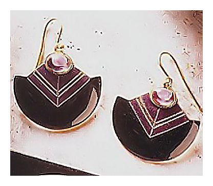 Art Deco Earrings with Amethyst Earrings, Enamel Silver Jewelry Design