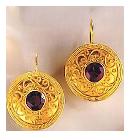 Cotswolds Garnet Victorian Jewelry Design Earrings, Gold Over Silver Jewelry