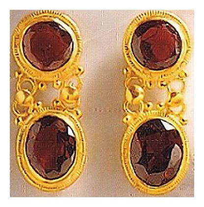 Banbury Garnet Stone Victorian Jewelry Design Earrings, Silver Jewelry