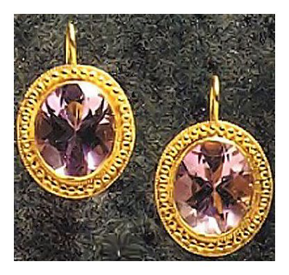 Cornwall Amethyst Victorian Earrings, Gold Over Silver Jewelry Design