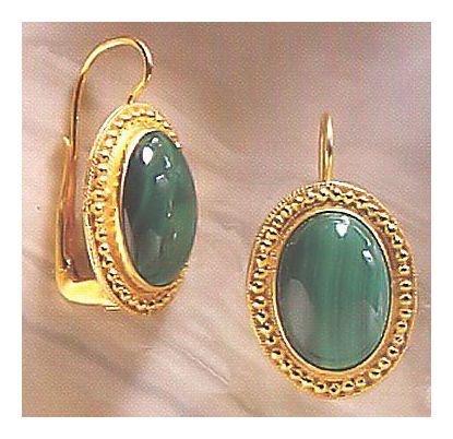 Eyre-Malachite Victorian Jewelry Design Earrings, Gold Over Silver Jewelry